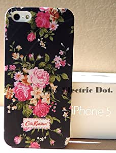 G09 High Definition Vintage style Designer-inspired Rose floral Pattern in Black Iphone Case for 5 (Free Delivery Dispatched from UK)