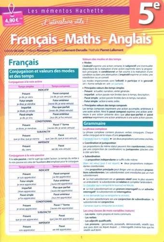 Français, Maths, Anglais 5e