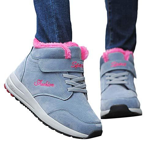 TianWlio Stiefel Frauen Herbst Winter Schuhe Stiefeletten Boots Winter Schnee Warm Halten Atmungsaktiv Heißer Plüsch Laufschuhe Draussen Sneaker Grau 40