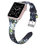 Dolank kompatibel mit Apple Watch Armband 42mm 44mm, Chic&Retro Leder Armbänder Sport Ersatz Uhrenarmband mit Edelstahl Schnalle für iWatch, Nike+, Series 4 3 2 1, Edition Blaue Blume