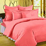 #2: BhaiJi's Elastic Fitted BedSheets King Size 300 TC Pure Cotton 108x108 Inch Satin Stripes- Peach