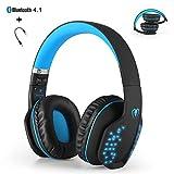 Bluetooth auriculares inalámbricos, yocuby plegable cancelación de ruido auriculares para juegos con micrófono y luz LED para PS4 PC ordenador portátil Tablet iPhone iPad Samsung Smartphone (negro & azul)