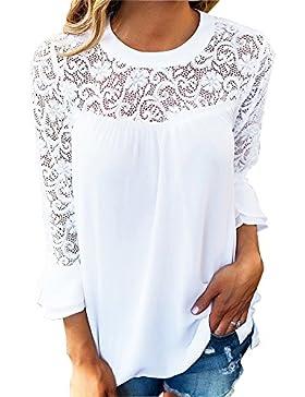 Mujer Camiseta Blusa Mangas Largas Elegante Hombros Abiertos Casual Oficina