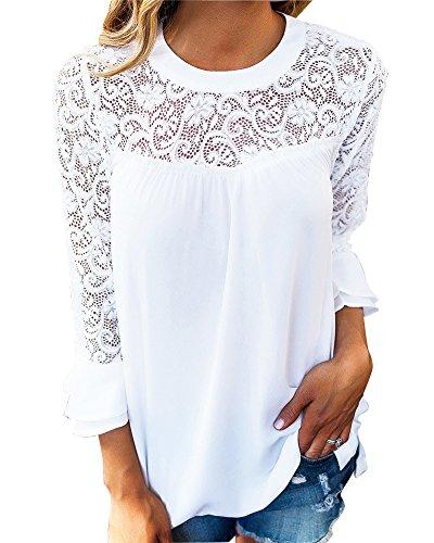 Mujer Camiseta Blusa Mangas Largas Elegante Hombros Abiertos Casual Oficina Blanco M