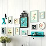 WollWoll Bird Cage Wooden Clock With You ♡ ME Wall Shelf Turquoise Synthetic Wood Photo Frame (160 Cm X 1.6 Cm X 67 Cm, Set Of 13)