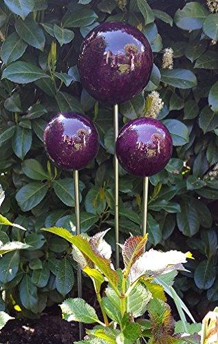 garten-wohnambiente Beetstecker Rosenkugel auf Stab mit Marmorlackierung in Violett 15 cm