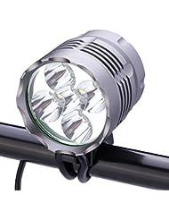 YOZATIA Phare avant pour vélo avec 5LED Cree XM-L T6 de 8000 lumens Lampe torche pour vélo avec chargeur 13 000 mah