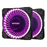 novonest 120mm violett 33LED Silent Fan für Computer Fällen, CPU, Kühler und Heizungen Ultra Leise High Airflow Gehäuselüfter, Twin Pack
