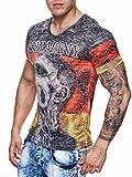 Deutschland T-Shirt WM Shirt Strass Steine Hooligan Fußball Skull Germany Men World Cup 2018 Männer Shirt Ländershirt (2XL)