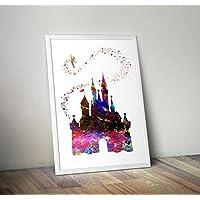 Disney inspirierte Aquarelldruck, Aschenputtel-Schloss-Plakat A4 8.3 x 11.7 Zoll