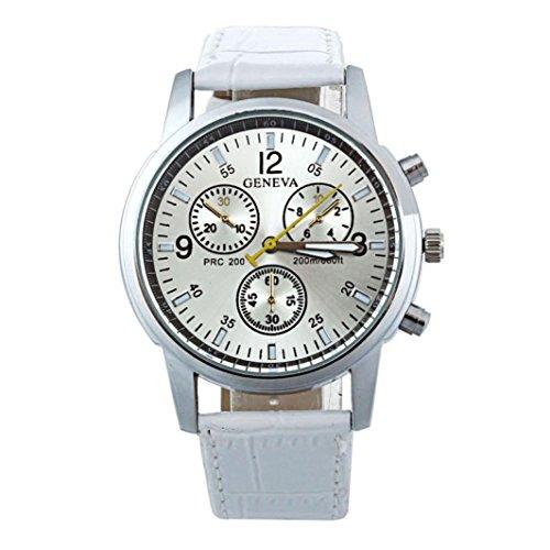 Internet Mode Frauen Genf Leder Band Analog Dial Quartz Armbanduhr (Für Frau In - Genf Uhr)