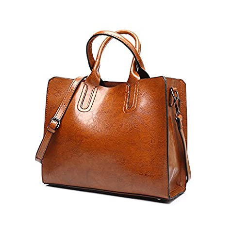 VECHOO Fashion Oil Wax Leather Handbag, Ladies Handbags, Girls Satchel, Large Capacity Totes, Vintage Shoulder Bag with Shoulder Strap (Brown)