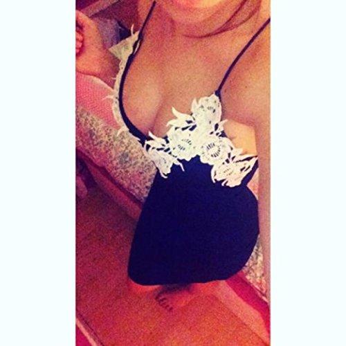 Tonsee Femmes Bodycon V cou dentelle florale Party Clubwear robe longue de soirée Bleu