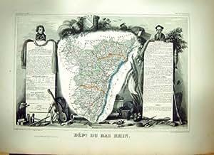 Carte Antique Française Levasseur C1845 Du Bas Rhin France Strausgourg la Moselle