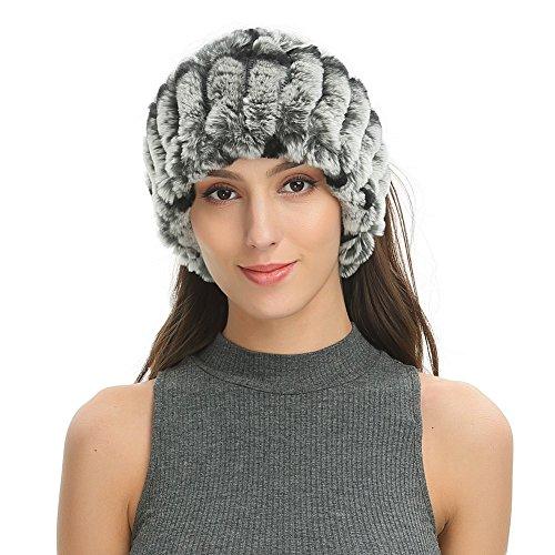 Ferand - fascia capelli larga elegante in vera pelliccia di coniglio rex, design elastica calda per inverno - donna - taglia unica - grigio naturale