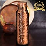 #10: Kurtzy Pure Copper Water Bottle lacquered Hammered Jointless Leak Proof for Travelling Purpose Yoga Ayurveda Healing Health Benefits