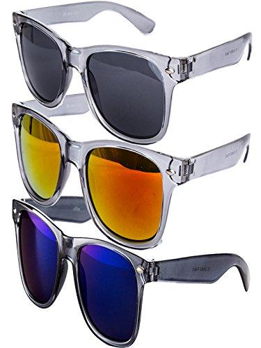 Ciffre 3 er Set EL-Sunprotect® Sonnenbrille Nerdbrille Brille Nerd Transparent Grau Silber