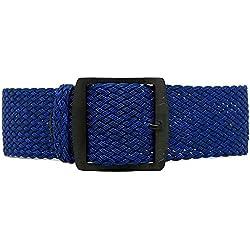 DaLuca Braided Nylon Perlon Watch Strap - Navy (PVD Buckle) : 20mm