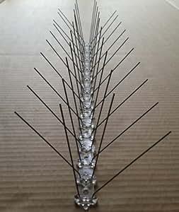 10 articles (5 m) pics anti pigeons 50 cm, 4 rangées de pointes en acier inoxydable