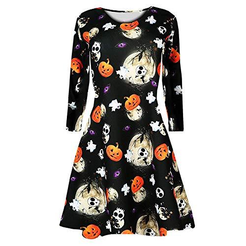 MIRRAY Damen Kürbisse Skull Halloween Abend Prom Kostüm Swing Kleid