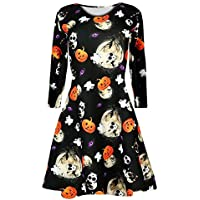 Yvelands Ofertas de liquidación Mujeres Pumpkins Halloween Noche Traje de Baile Swing Dress Vacation Party ¡Caliente!