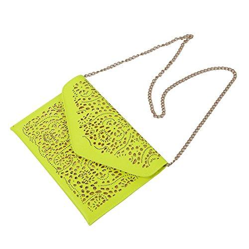 TOOGOO(R) donne Vintage Trend della borsa del ritaglio della spalla della busta Borsello frizione giorno borsa nazionale - Giallo Fluorescent yellow