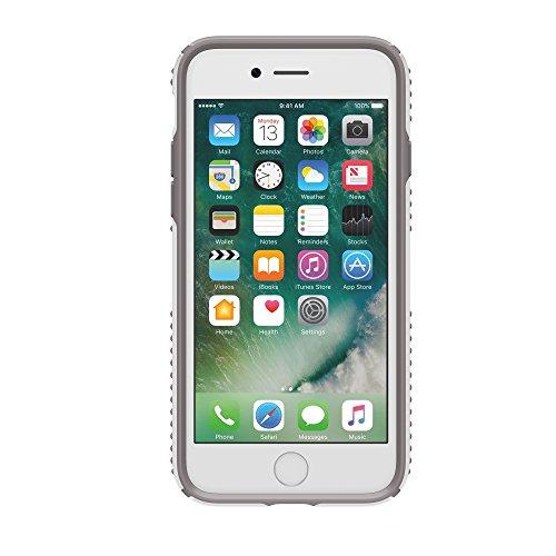 Speck Presidio Clear + Print Coque Transparente Imprimée pour iPhone 7 Plus - Argent/Transparent à Pois Blanc/Gris Cendre