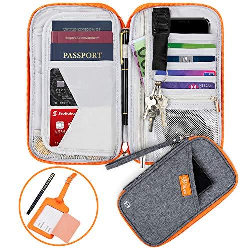 Wilbest Portefeuille Passeport, Porte-Passeport de Voyage Famille Zippée RFID Compartiments pour Passeports, Cartes d'Identité,...