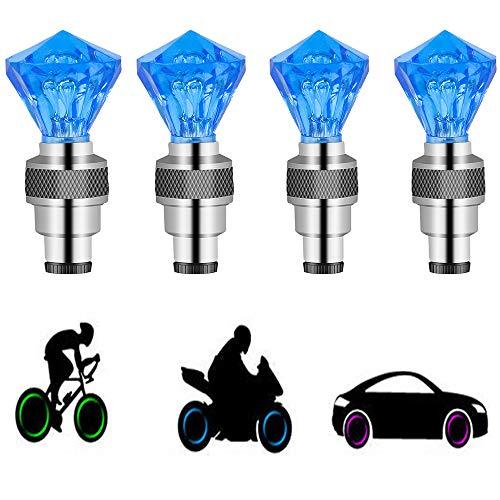1X Autos Motor Rad Fahrrad Reifen Ventil Kappe Speichen Led Blitz Leuchte Lampe