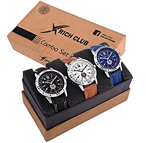Rich Club Combo Of 3 Professional Analog White Blue Black Dial Watch For Men And Boys (27-Tmx-Blu~Orn~Blk)