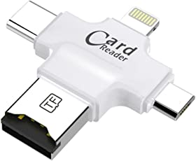 GIA DIGITAL™ 4 in 1 OTG Card Reader, 4 ports Apple lightning + Type C + Micro USB + USB Card reader, works like iflash, idisk, compatilble with iPhone x / 8 / 8 plus / 7 / 7 plus / 6 / 6s / 6s plus / 5 / 5s / 5c/ iPod touch / iPad 4/ iPad mini / iPad Air / iPad Pro / Mac / Type C devices / Android devices, SDHC lightning flash drive