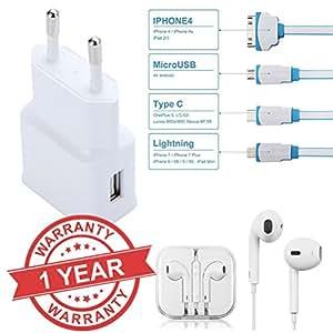 MacBerry 2.0Amp Adaptor Charger & Earphones for Panasonic ELUGA I2 (White)