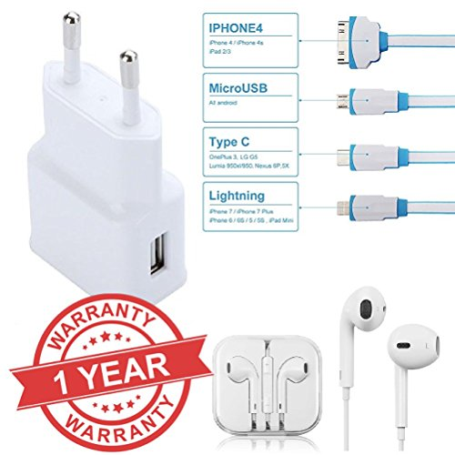 Premium Design HTC Desire 628 Compatible Ultra High Speed 2Amp charger & 4 in1 cable with free Gift of Earpods