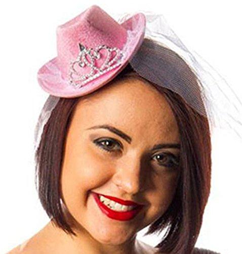 Party-Teufel Mini Cowboyhut mit Tiara und Brautschleier auf Haarreifen Accessoire Junggesellenabschied