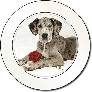 Deutsche Dogge mit roter Rose AutovignetteGenehmigungsinhaber Geschenk
