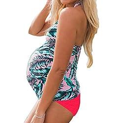 Junkai Bikini mujer embarazada Chaleco Tops Con Triángulo Bragas dos Piezas Embarazada Traje de Baño de