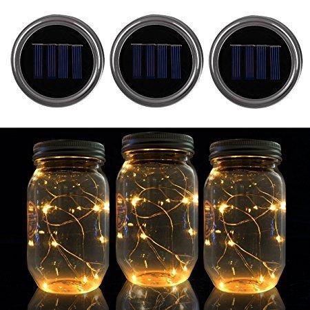 (Solar-Laterne im Einmachglas, Glas und Edelstahl Sun Jar Solarlampe, Mason Jar Licht, Lichterkett Glas Hängeleuchte Outdoor Solarlampe Balkon Tischleuchte für Dekoration Zuhause Party Garten Hochzeit)
