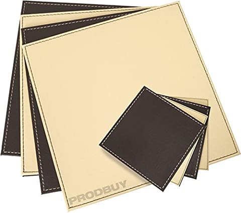 Set of 4 Reversible Cream & Brown Faux Leather Placemats & Coasters by ProdBuy (Pelle Marrone 4 Coaster)
