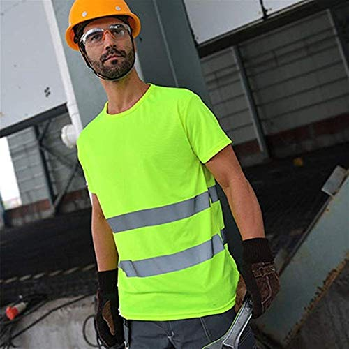Krankenschwester Gelben T-shirt (Radvihay Sicherheitsweste Reflektierendes Rundhals-T-Shirt Hohe Sichtbarkeit Reflektierendes Klebeband Feuchtigkeitstransport Hohe reflektierende Sicherheit Arbeitskleidung (Farbe: Grün))