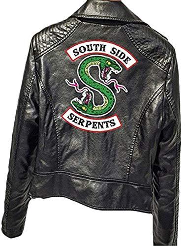 FAIRYRAIN Riverdale Southside Serpents Jacket für Mädchen schwarzes Kunstleder Slim Fit Mode Lederjacke Damen Kostüm ()