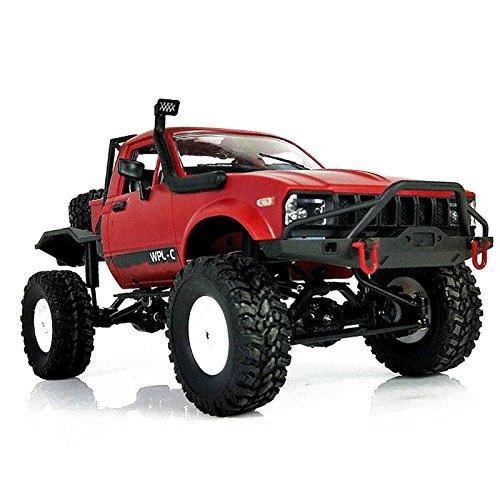 TOOGOO WPL C14 1:16 Escala 2.4G 2CH 4WD Mini Semirremolque todoterreno RC RTR Camion de escalar de ninos Rojo