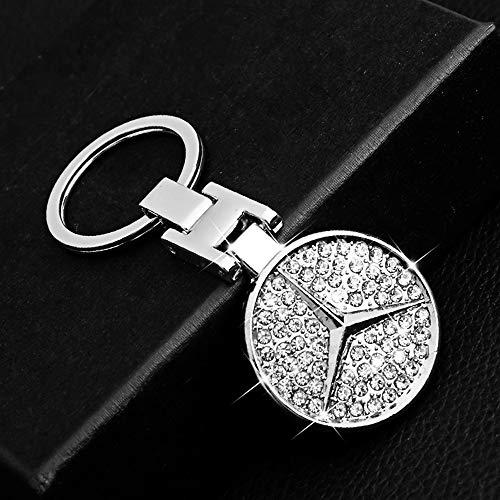 VILLSION Auto Schlüsselanhänger Zubehör Inlay Glänzender Kristall Doppelseitiges Logo Zink-Legierung Metall Schlüssel Zubehör mit Geschenkbox