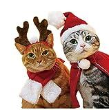 Frmarche Katzen Weihnachtsmütze Schal Rentier Stirnband Umhang Weihnachtskostüm für Kat Hund Haustier (Hut - Schal)