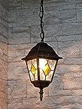 Edle Hängeleuchte Deckenlampe in antik -gold IP43 E27 230V Außenleuchte Pendelleuchte Hof Garten Aussen