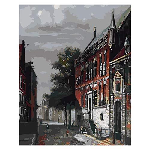 DAMENGXIANG DIY Hand Gemalt Digitale Öl Gemälde Retro Kleine Stadt Moderne Abstrakte Kunst Bilder Für Wohnzimmer Home Decor