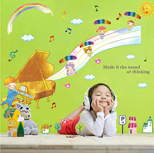 Wiwhy Fantasie Konzert Wandaufkleber Für Kinderzimmer Babyzimmer Schlafzimmer Küche Wc Aufkleber Wohnkultur Wandtattoo Mural50X70Cm