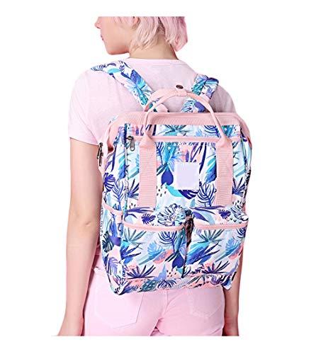 MYLL Frau Tote Casual Taschen Computer Rucksack Pflanze Druck Crossbody Tasche Handtasche Schultertasche Reise Bag,粉色花(小号)
