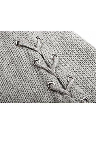 Les Femmes Décontracté Tunique Trompette Manche Bandage Knit Pull - Hiver Chaud Grey