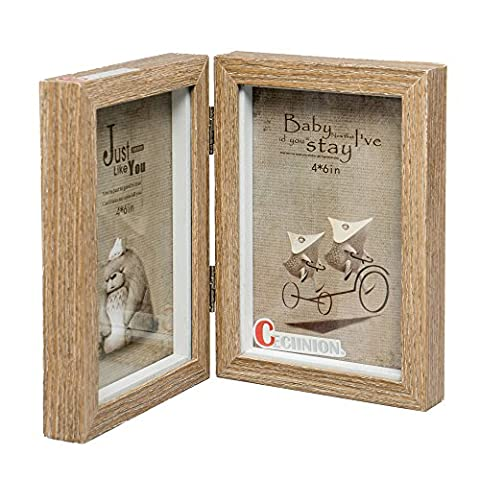 CECIINION Wood Picture Frame, Hinged Double Picture Frame, Double 4 by 6 inch (For 4*6in, Darker wood color)
