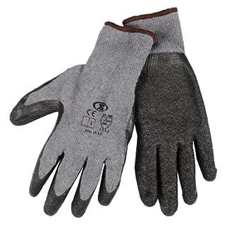 12 Pairs Of Builders Gardening DIY Latex Coated Work Gloves - Black (Size 10)